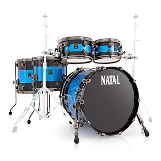 Natal Originals Maple 5pc Shell Pack, Black w/ Blue Sparkle Inlay