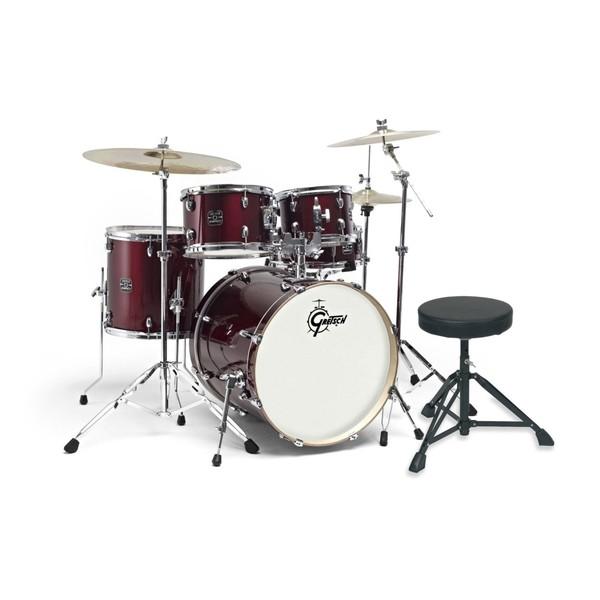 """Gretsch Energy 22"""" Drum Kit w/ Hardware & Paiste 101 Set, Wine Red"""