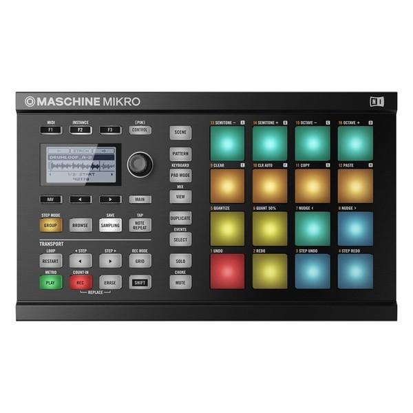 Native Instruments Maschine Mikro MK2 with Komplete 11 ULT, Black - Mikro Top