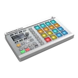 Native Instruments Maschine Mikro MK2 with Komplete 11, White - Angled 2