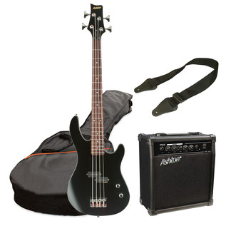 Ashton SPJOEYBASS 3/4 Size Bass Guitar Starter Pack, Black