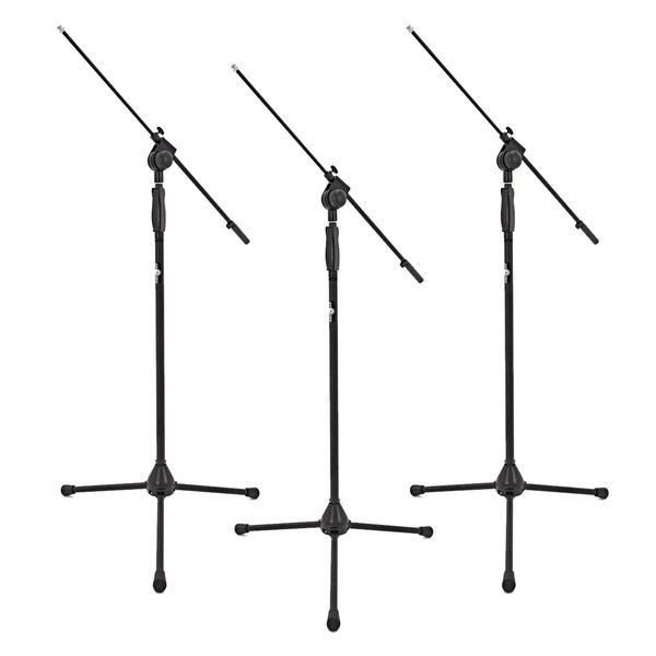 Deluxe Boom Mic Stand by Gear4music, Pack of 3