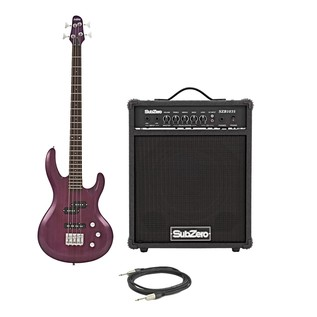 SubZero Atlanta Bass Guitar + SubZero 35W Bass Amp, Trans Purple