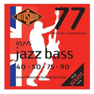 Rotosound 4-String Jazz Bass Flatwound Bass Guitar Strings, 40-90