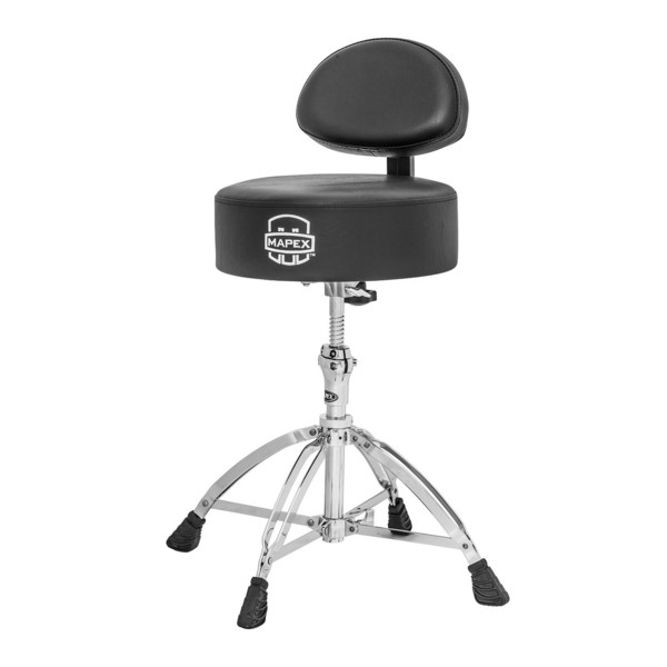 Mapex T770 Drum Stool, Rounded Top with Backrest, Four Leg Base