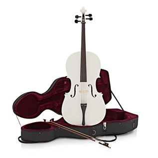 Student 4/4 Size Cello with Case by Gear4music, White