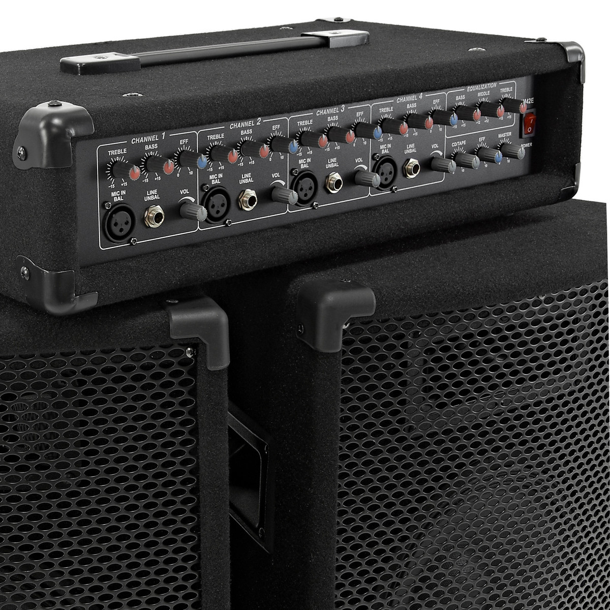 subzero 150w pa system with fx mixer and speakers box opened at gear4music. Black Bedroom Furniture Sets. Home Design Ideas