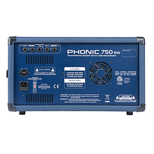 Phonic Powerpod750RW Powered Mixer With USB Recorder & Bluetooth - Rear View
