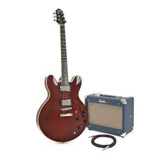 SubZero Detroit Semi Acoustic Guitar, Red Wine + Tube 10 Amp Pack