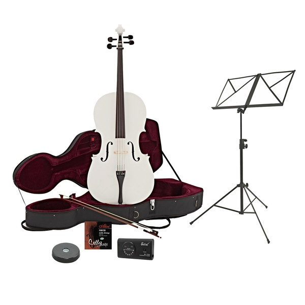 4/4 Size Cello with Case + Beginner Pack, White