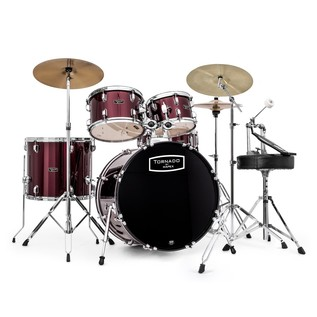 Mapex Tornado III 22'' Rock Drum Kit, Burgundy w/ Extra Crash