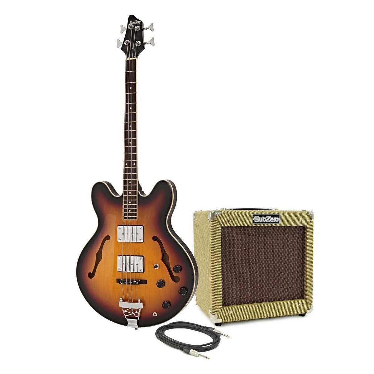 SubZero Detroit Halbresonanz-Bass + SubZero SZ-V35B Paket, Sunburst ...