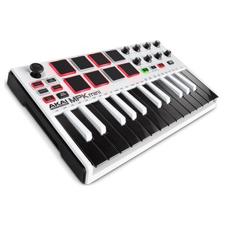 Akai MPK Mini MK 2 Laptop Production Keyboard, White - Angled