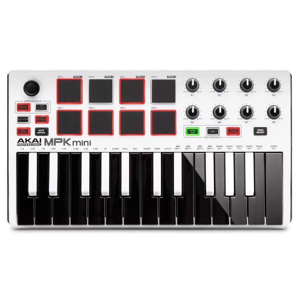 Akai MPK Mini MK 2 Laptop Production Keyboard, White - Top