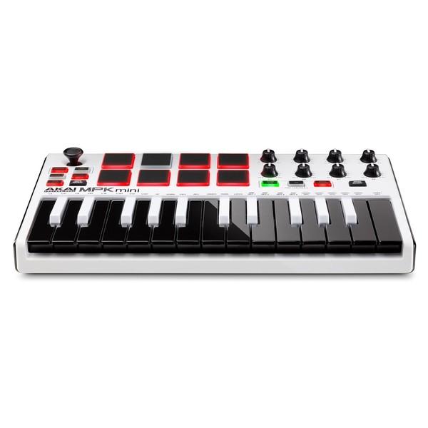 Akai MPK Mini MK 2 Laptop Production Keyboard, White - Front