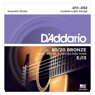 DAddario EJ13 80/20 Bronze Acoustic Strings, Custom Light, 11-52