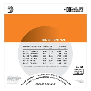 DAddario EJ10 80/20 Bronze Acoustic Strings, Extra Light, 10-47