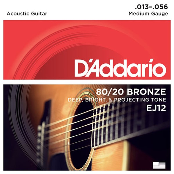 DAddario EJ12 80/20 Bronze Acoustic Guitar Strings, Medium, 13-56