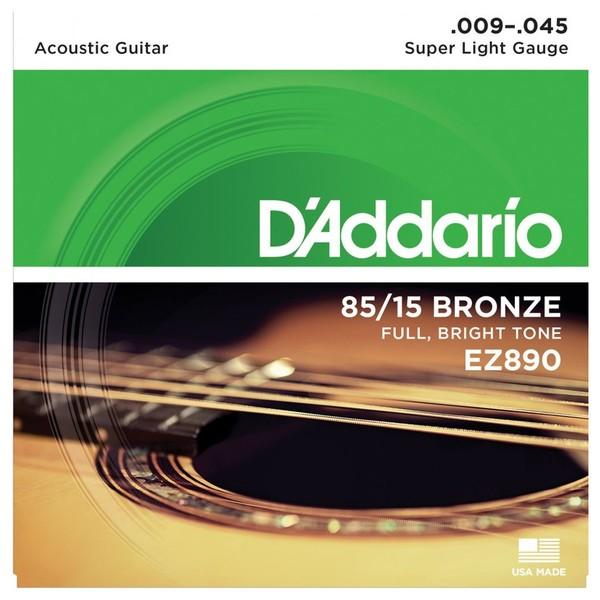 DAddario EZ890 85/15 Bronze Acoustic Strings, Super Light, 09-45