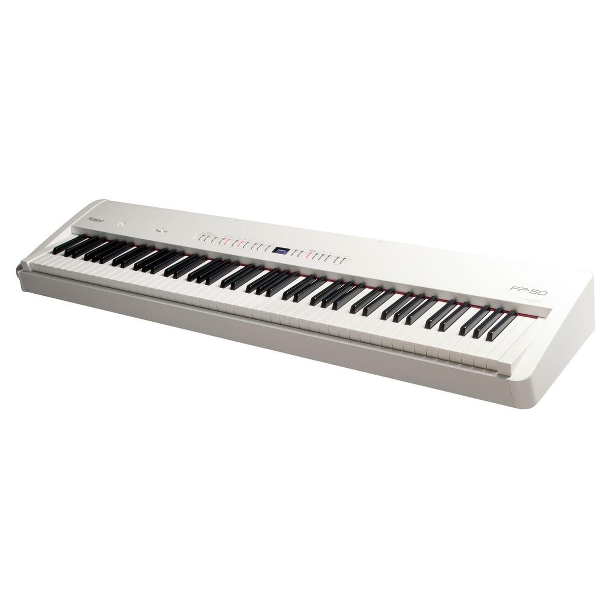 Roland FP 50 Digitalpiano mit Ständer, Hocker und Kopfhörer, weiß ...