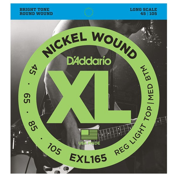 DAddario EXL165 Nickel Wound Bass Strings, Light, 45-105, Long Scale