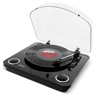 ION Max LP USB Turntable with Integrated Speakers, Black - Angled
