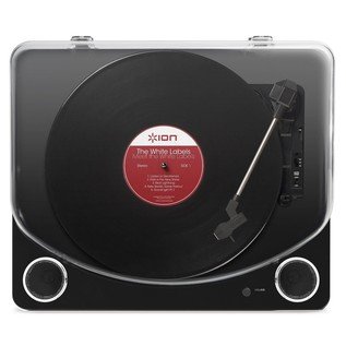 ION Max LP USB Turntable with Integrated Speakers, Black - Top