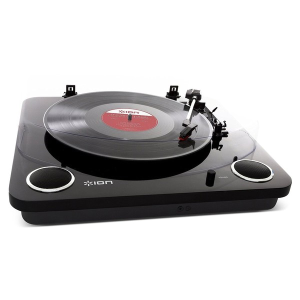 ION Max LP USB Turntable with Integrated Speakers, Black - Angled 2