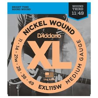 D'Addario EXL115W Nickel Wound, Medium Rock, Wound 3rd, 11-49