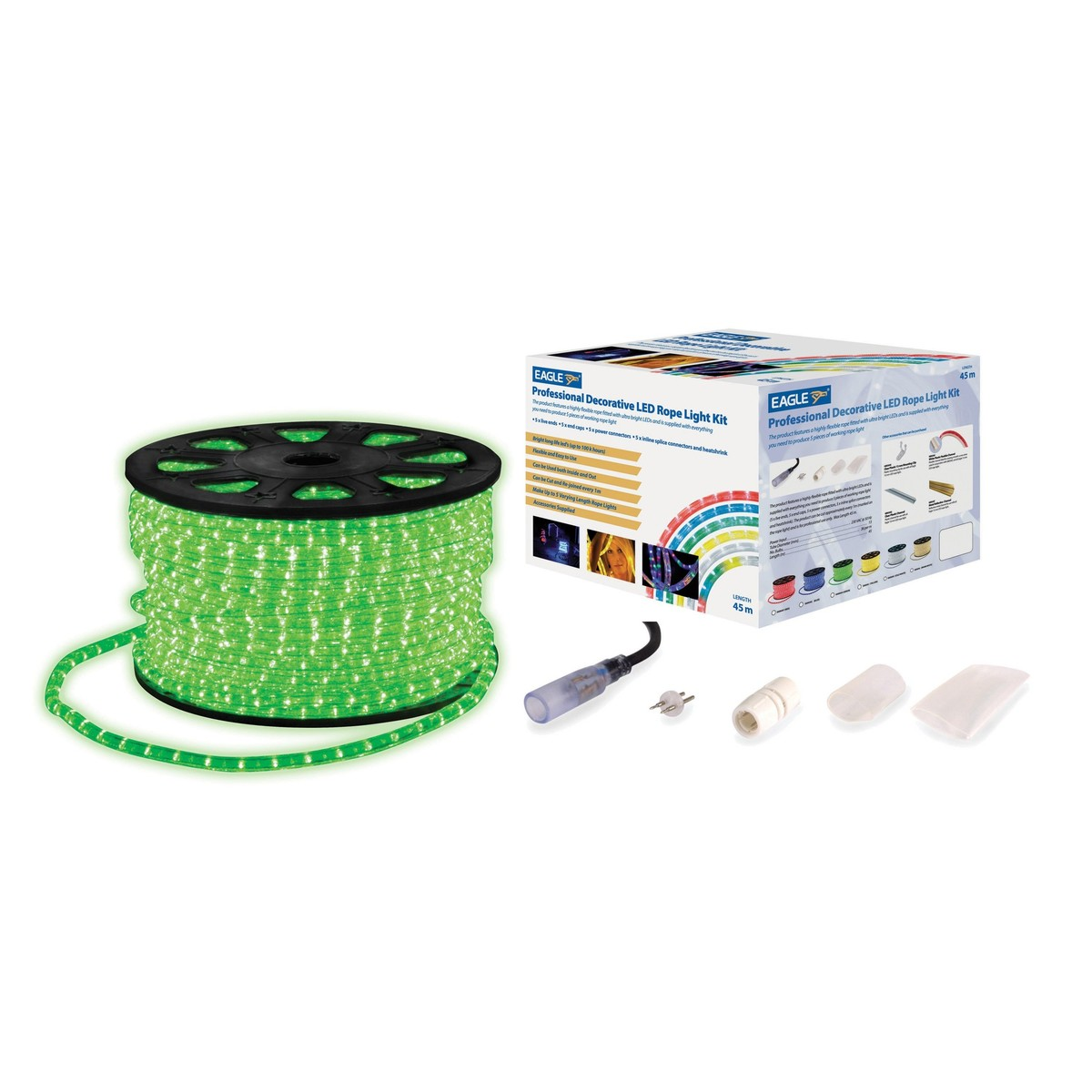 Eagle static led rope light with wiring accessories kit 45m green eagle static led rope light with wiring accessories kit 45m green mozeypictures Image collections