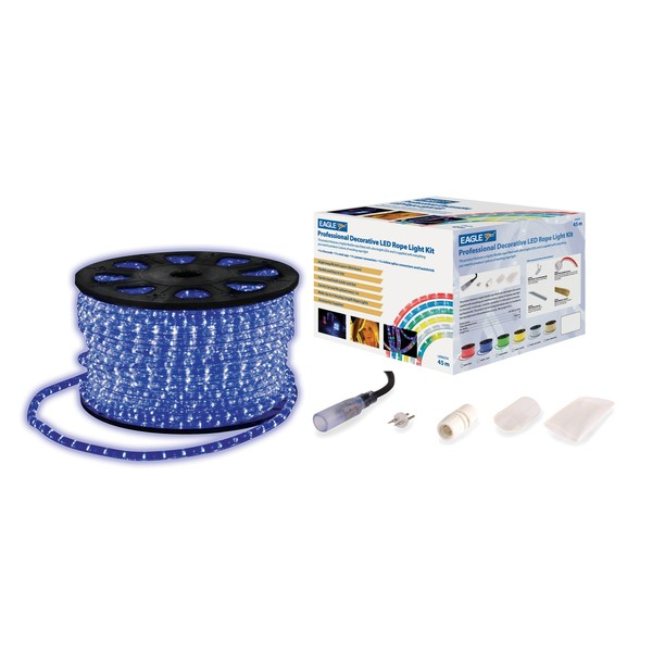 Eagle Static LED Rope Light With Wiring Accessories Kit 45m, Blue