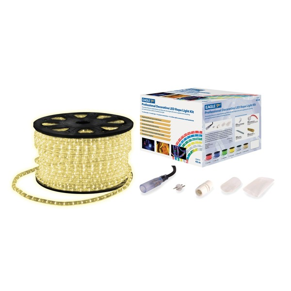 Eagle Static LED Rope Light With Wiring Accessories Kit 45m, Warm White