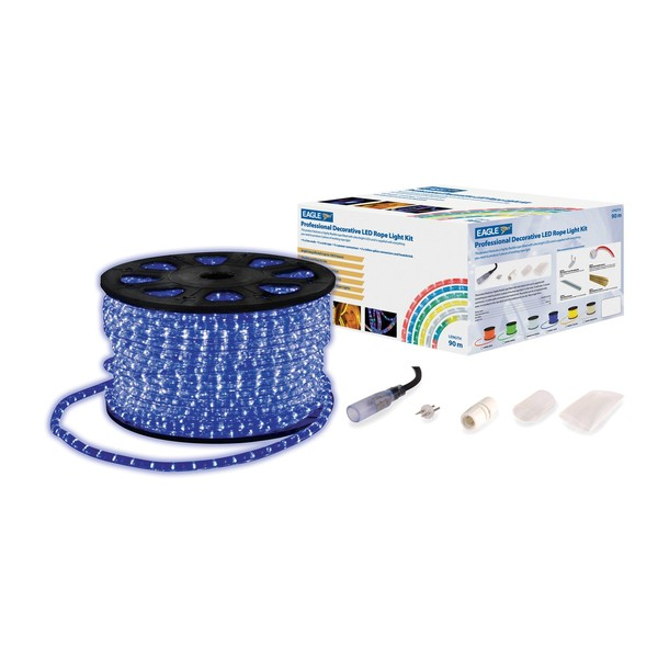 Eagle Static LED Rope Light With Wiring Kit, 90m, Blue