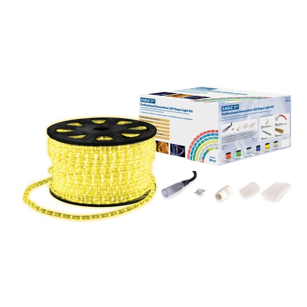 Eagle Static LED Rope Light With Wiring Kit, 90m, Yellow