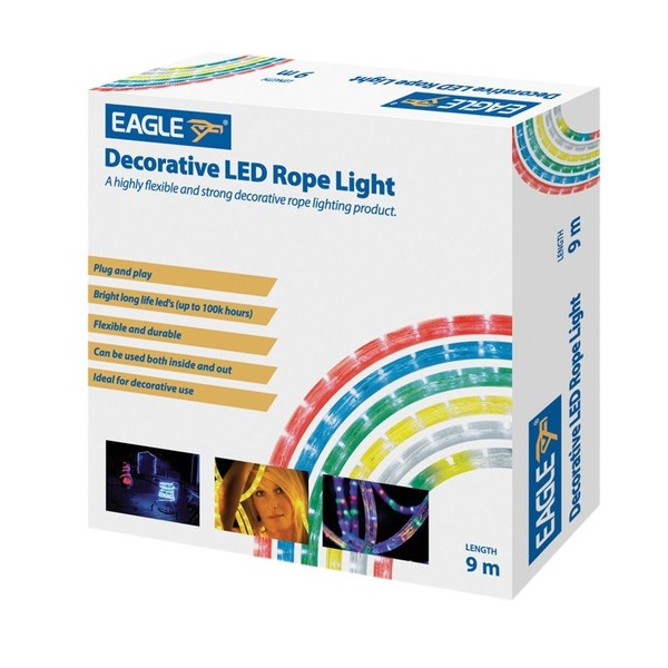 Eagle Static Plug and Play LED Rope Light 9m, Multi-Coloured