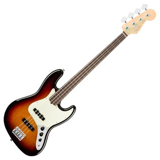 Fender American Pro Jazz Fretless Bass Guitar, 3-Tone Sunburst