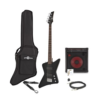 Harlem Z Bass Guitar + 150W Amp Pack, Black