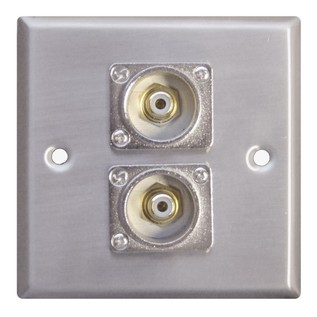 Eagle Metal AV Wall Plate With 2 x Phono Sockets