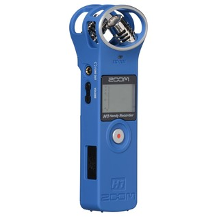 Zoom H1 Recorder with Accessory Pack, Blue - Angled