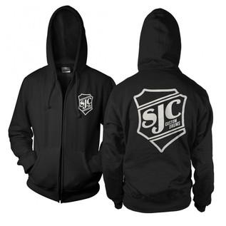 SJC Custom Drums Zip Up Hoodie Black with white Breast Print, Small