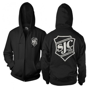 SJC Custom Drums Zip Up Hoodie Black with white Breast Print, Medium
