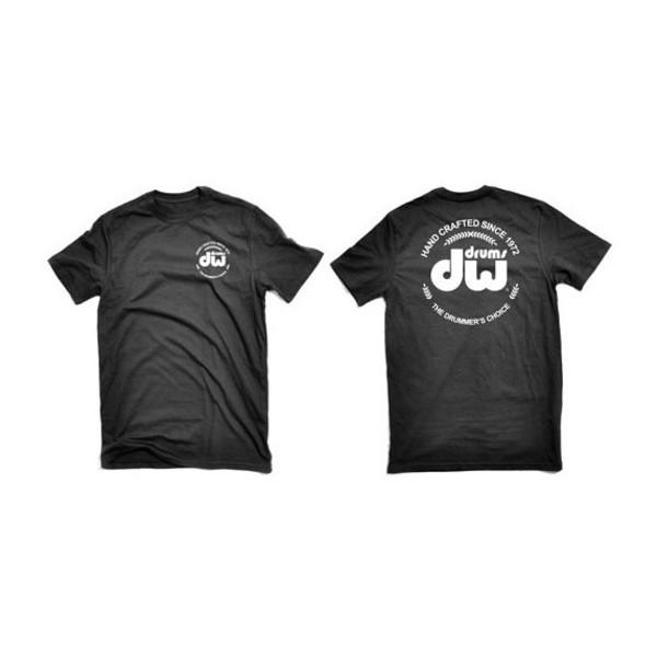 DW Drums Black T-Shirt with White DW Logo, Large