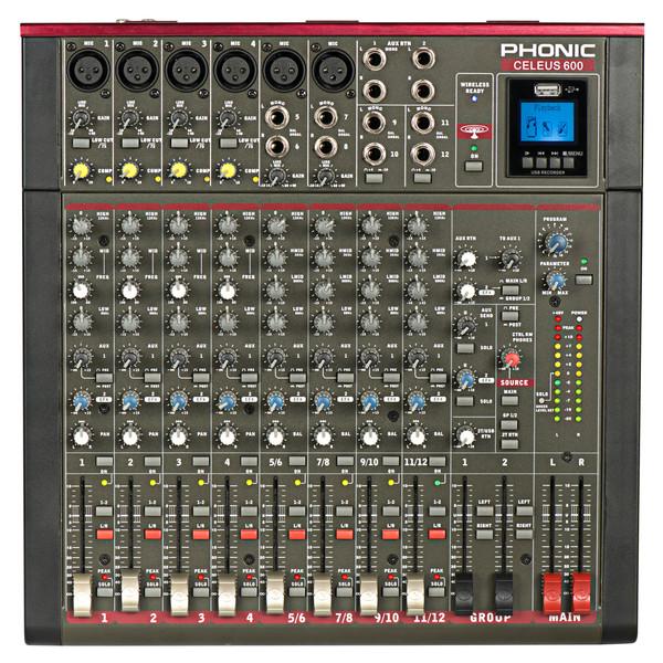 Phonic Celeus 600 Analog Mixer with USB Recorder and Bluetooth
