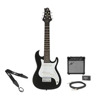 Greg Bennett Malibu MMB-1 Mini Electric Guitar + Amp Pack, Black
