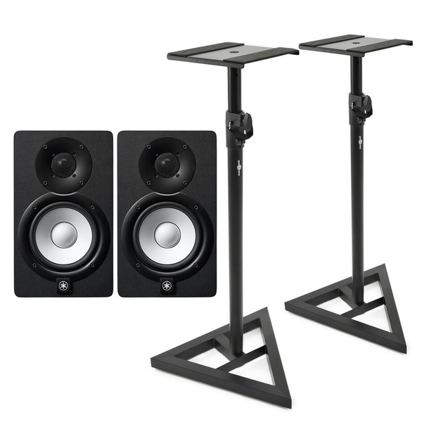 Yamaha HS5 Active Studio Monitors (Pair) with Stands - Bundle