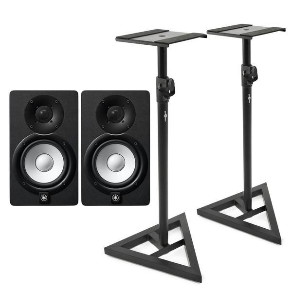 Yamaha HS5 Active Studio Monitors (Pair) with Stands - Bundle