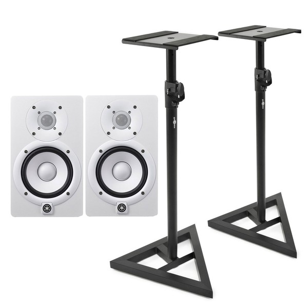 Yamaha HS5W Studio Monitors White, Includes Stands (Pair) - Bundle