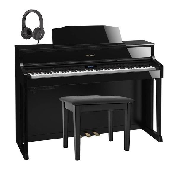 Roland HP605 Digital Piano Package, Polished Ebony