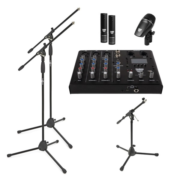 Sabian Sound Kit Complete 4 Piece Drum Mic & Mixer Kit With Stands