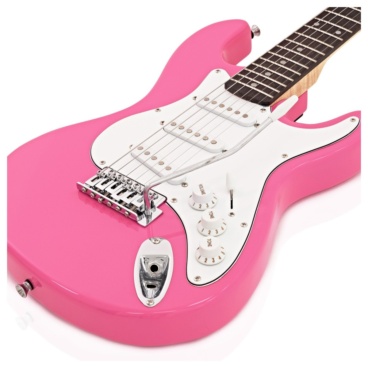 3/4 LA E-Gitarre von Gear4music, rosa - Box geöffnet bei Gear4music